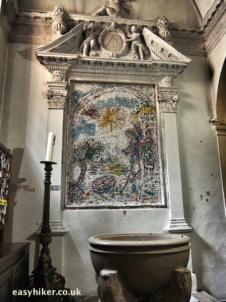 """'Moses saved from the water' work of Marc Chagall in Vence's Cathedral"""