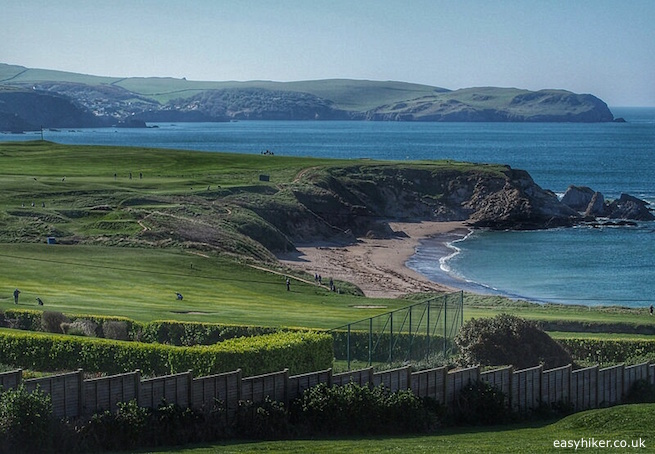 """""""The South West Coast path in Thurlestone shared by golfers and hikers"""""""