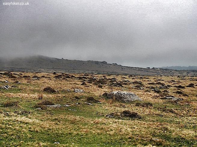 """Bleak landscape on a rainy day in Dartmoor"""