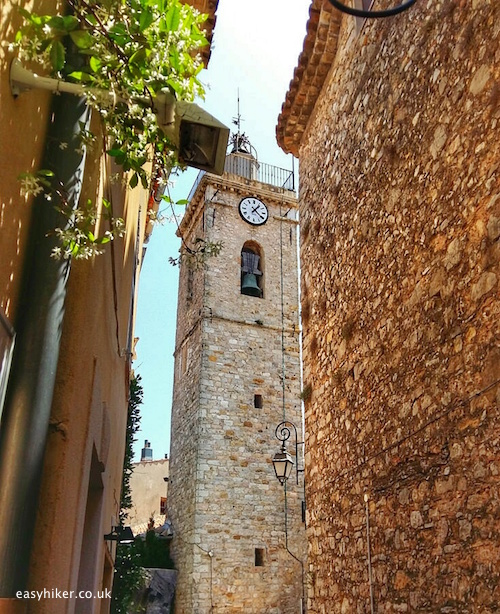 """church tower of St Jacques-le-Majeur in Mougins"""