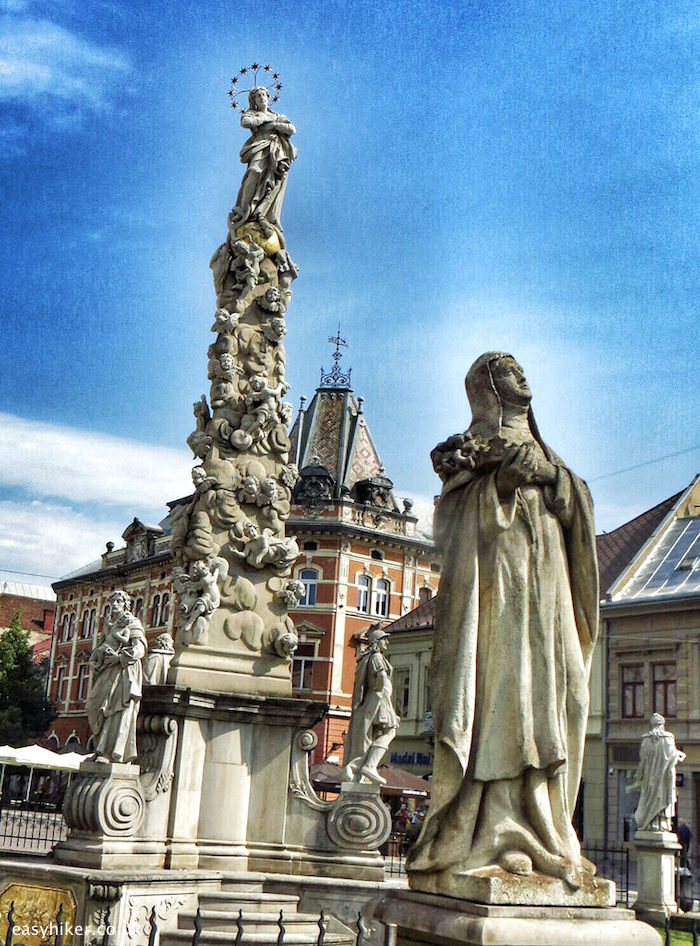 """Immaculata Plague Column in Kosice town center on a walk through the tides of history"""