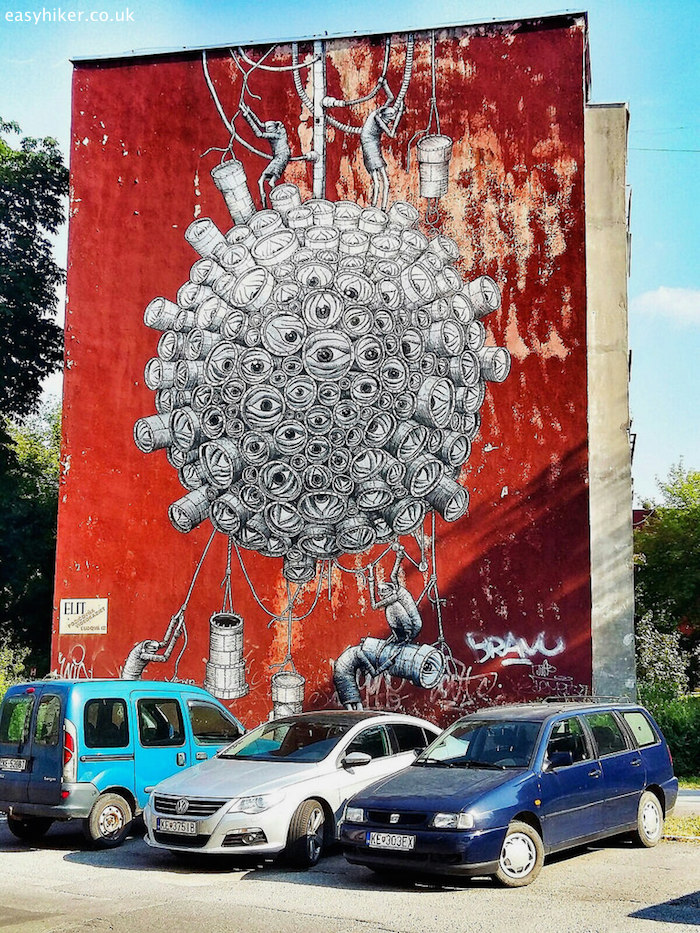 """""""one of the murals of Kosice, a work by Sheffield artist Phlegm"""""""