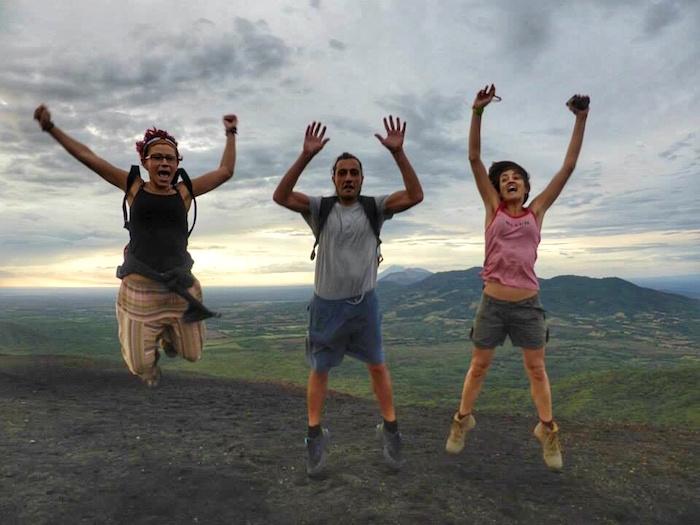 """""""cheering after volcano boarding Cerro Negro in Nicaragua"""""""