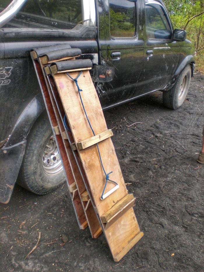 """""""sled used for volcano boarding in Cerro Negro Nicaragua"""""""