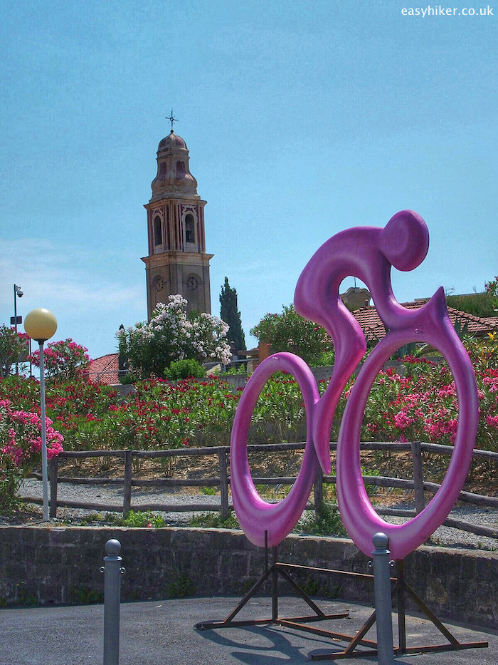 """symbold of the Giro d'Italia in San Lorenzo al Mare, one of the Rip van Winkle Villages of the Italian Riviera"""