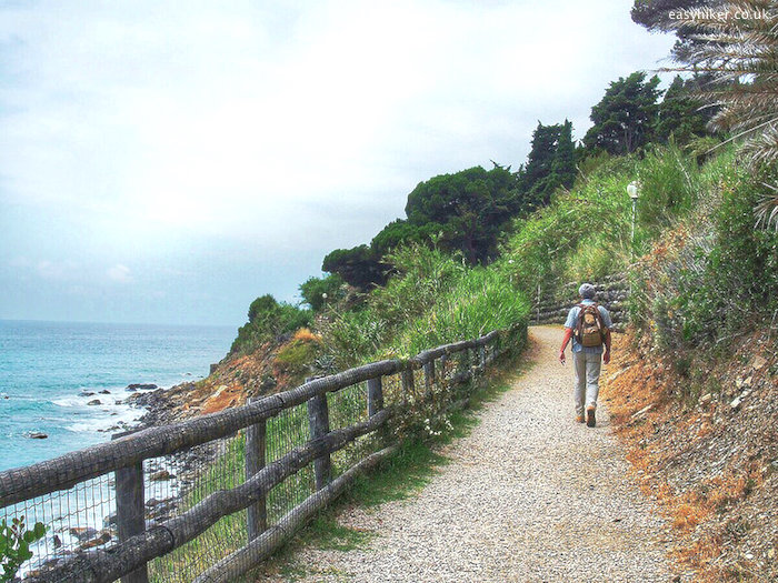 """foothpath along the coastline of the Italian Riviera"""