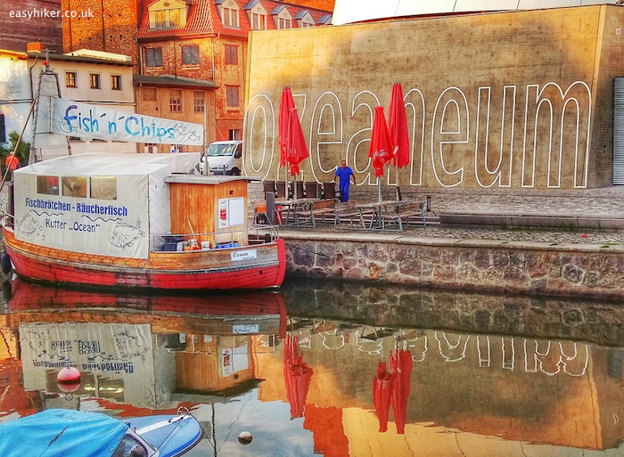 """""""fish and ship boat in front of Ozeanum in Stralsund"""""""