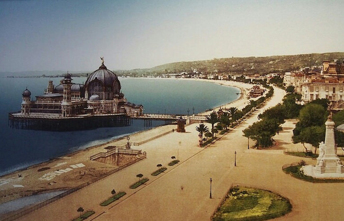 """old picture of former Casino along the old promenade of Nice"""