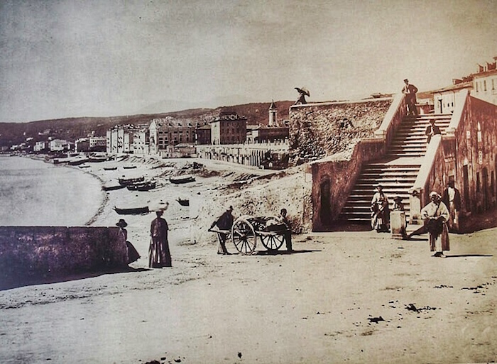 """very old picture of the beach front of Nice"""