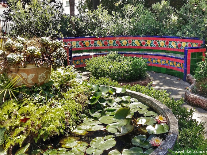 """mosaic tiled bench inside the Fontana Rosa Most Famous Garden on the Riviera"""