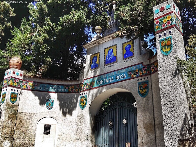 """entrance gate of Fontana Rosa Most Famous Garden on the Riviera"""