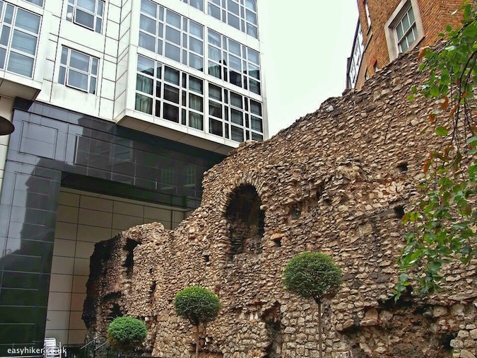 """the old wall seen on a city walk around the London Wall"""