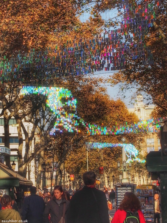 """Sunlit Christmas decoration on Las Ramblas Barcelona City of Christmas Lights"""