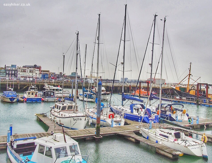 """Marina in Lowestoft harbour on quest of Sebald in the Suffolk Coast Path"""