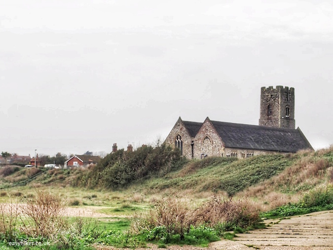 """old church overlooking the beach front of Lowestoft on the Suffolk Coast Path"""
