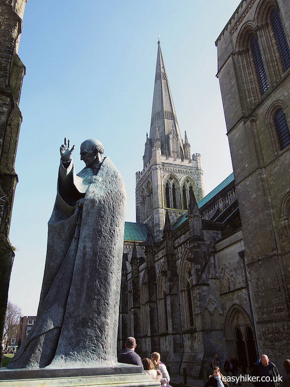 """""""statue in front of cathedral - one of the Three for One in Chichester"""""""