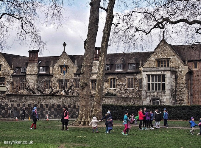 """Charterhouse Square park along haunted City of London"""