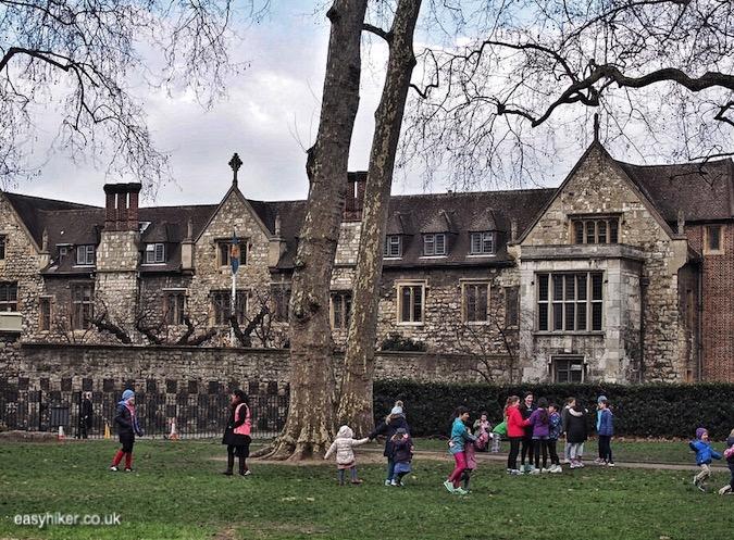 """Charterhouse Square park along haunted City of London"""