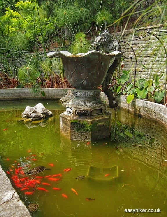 """interesting fountain ornament in Hanbury - greatest of all Riviera gardens"""