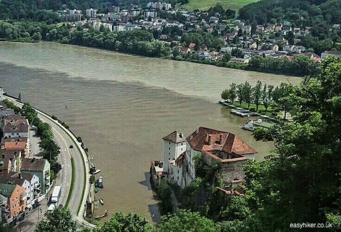 """view of the 3 rivers joining together in Passau - Second Movement of the Blue Danube"""