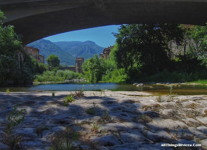 """Sospel town, seen from under its bridge -Most Storied Backcountry Village"""