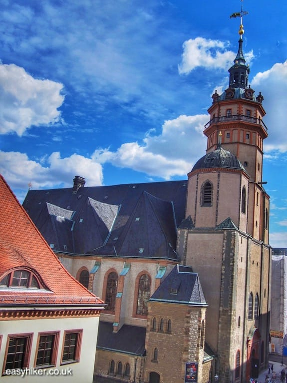"""St Nicholas church in the historical old town of Leipzig"""