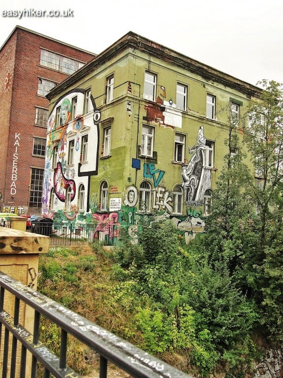 """graffitied building - How We Experienced Plagwitz"""