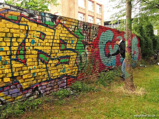 """graffiti artist at work - How We Experienced Plagwitz"""