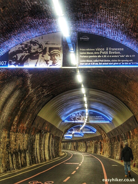 """inside the old railway tunnel from Ospedaletti to Sanremo"""