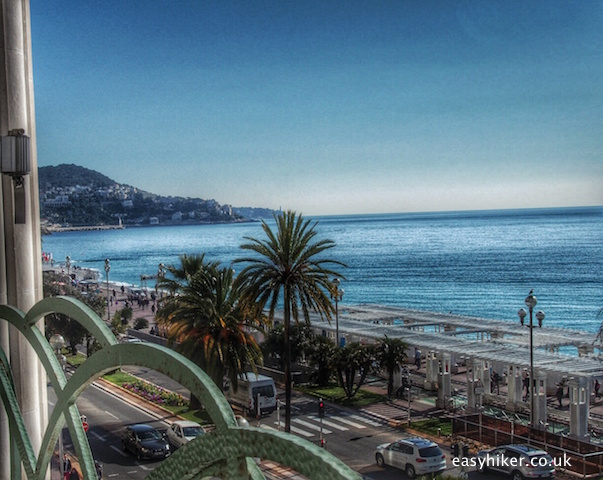 """Nice of Henri Matisse - beach promenade seen from Palais de la Mediiterranee"""