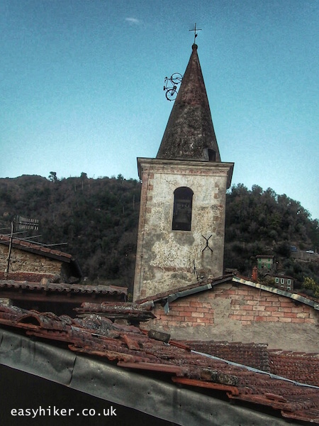 """""""Old church belfry in a town in the Ligurian Hills"""""""