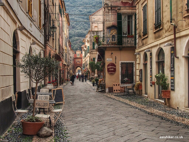 """street in Finalborgo, part of five walks of Finale Ligure"""